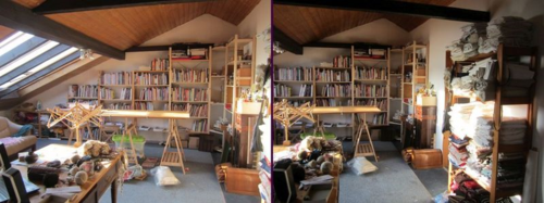 Workspace w shelves